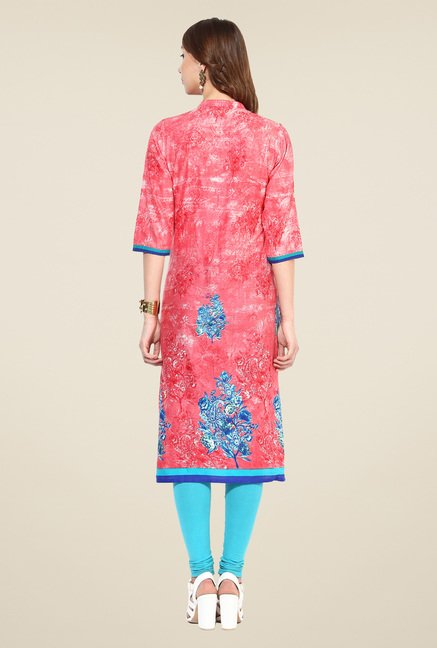 Shree Pink Cotton Floral Print Kurta