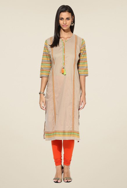 Shree Beige Cotton Solid Kurta