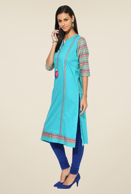 Shree Blue Cotton Solid Kurta