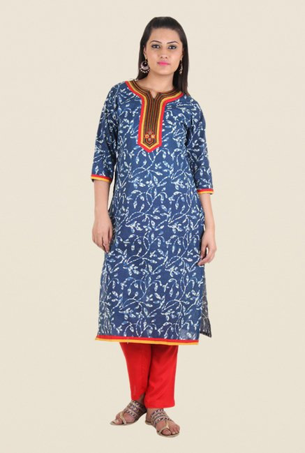 Shree Blue Cotton Embroidered Kurta