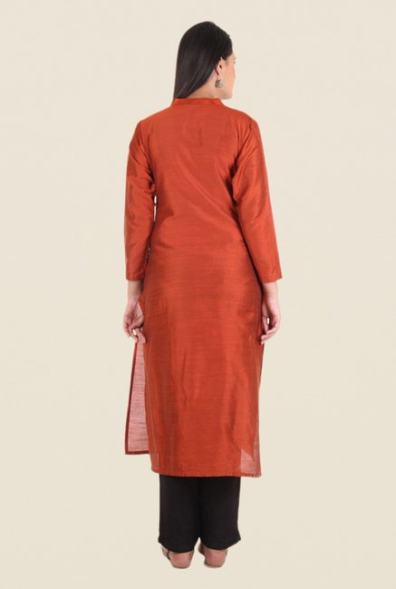 Shree Rust Silk Solid Kurta