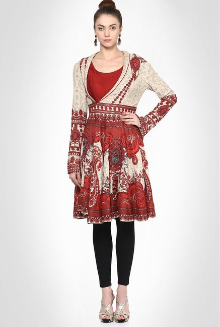Jj Valaya Designer Wear Red Jewel Printed Flared Kurti
