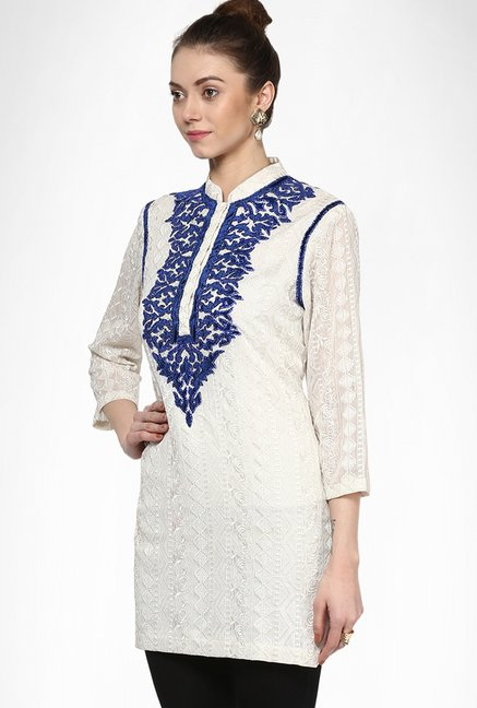 Soigne K Designer Wear Off White Applique Kurti By Kimaya