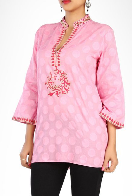 Sulu Designer Wear Pink Self Designed Kurti By Kimaya