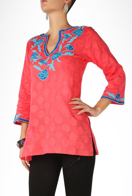 Sulu Designer Wear Coral Self Designed Kurti By Kimaya