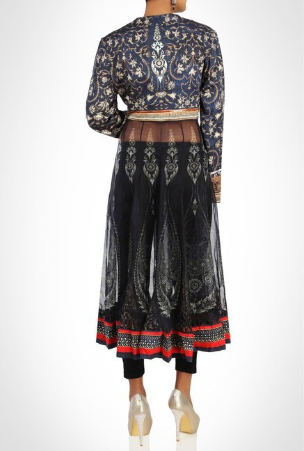 Tarun Tahiliani Designer Wear Navy Printed Kurta By Kimaya