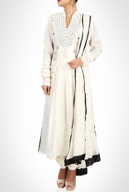 Tarun Tahiliani Designer White Anarkali Set By Kimaya