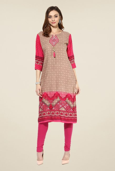 Shree Tan & Pink Rayon Embroidered Kurta