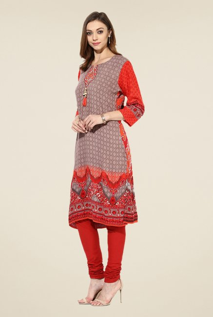 Shree Tan & Red Rayon Embroidered Kurta