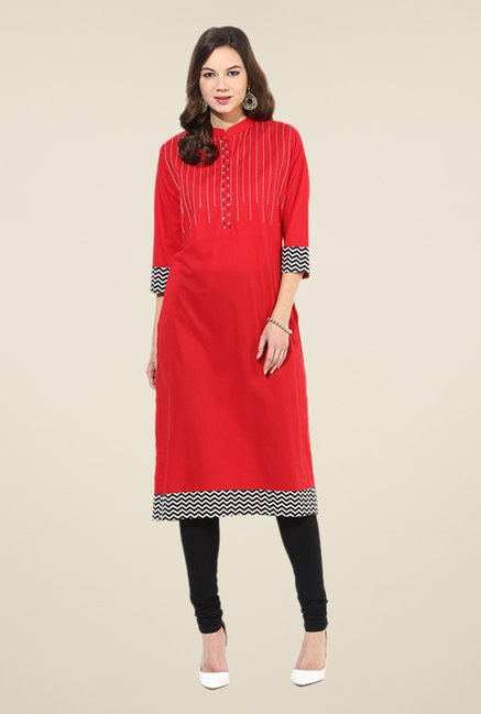 Shree Red Cotton Printed Kurta