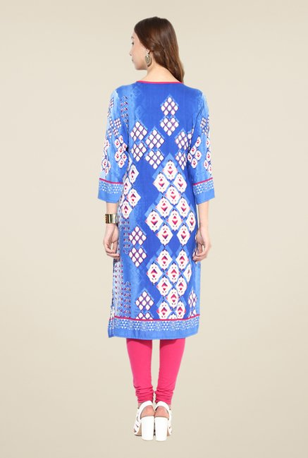 Shree Blue Rayon Embroidered Kurta