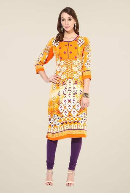 Shree Mustard Rayon Embroidered Kurta