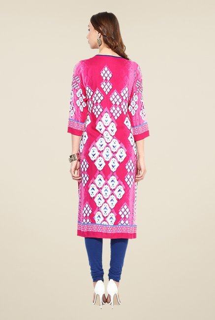 Shree Pink Rayon Embroidered Kurta