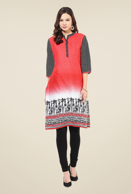Shree Red Cotton Tribal Printed Kurti