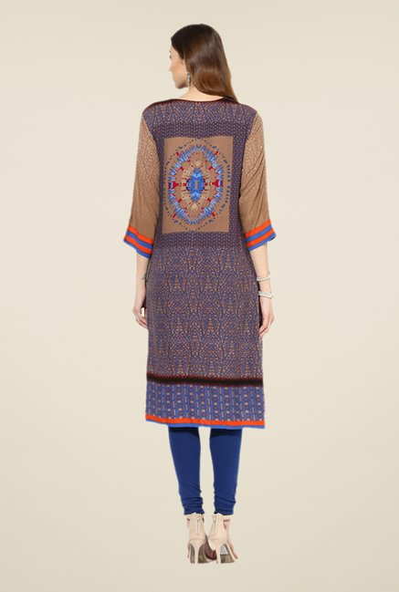 Shree Blue & Grey Rayon Printed Kurta