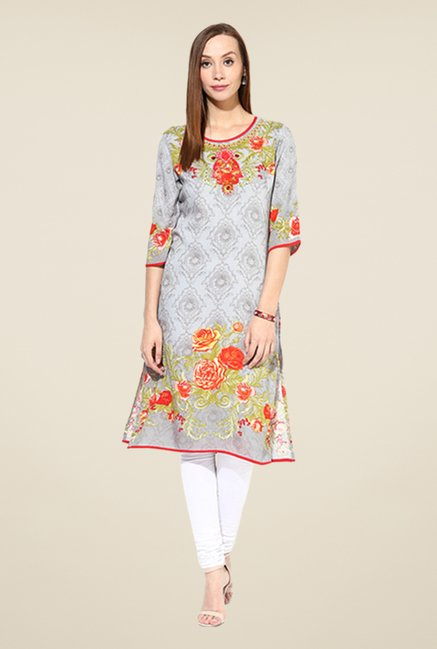Shree Grey & Orange Rayon Floral Print Kurta