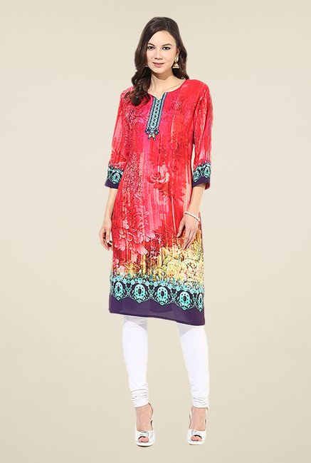 Shree Red Rayon Printed Kurta