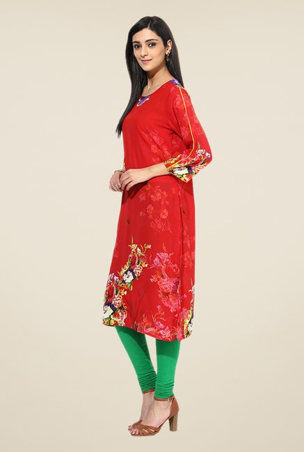 Shree Red Rayon Floral Print Kurta
