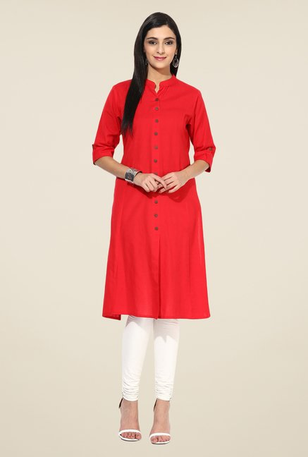 Shree Red Linen Solid Kurta