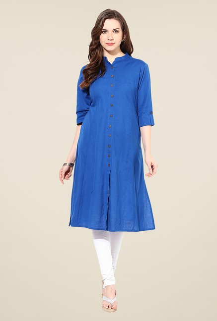 Shree Blue Linen Solid Kurta