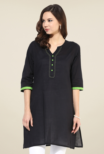 Shree Black Cotton Solid Kurti