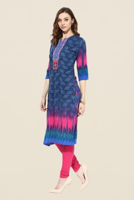 Shree Navy Rayon Printed Kurta