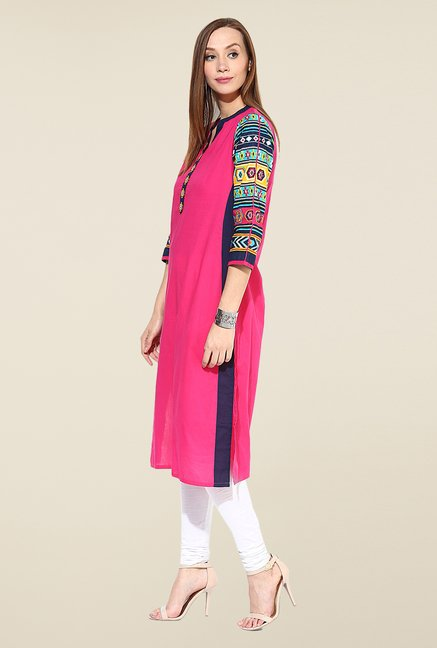 Shree Pink Cotton Solid Kurta
