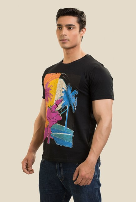Johnny Bravo Day & Night Black Graphic T-shirt