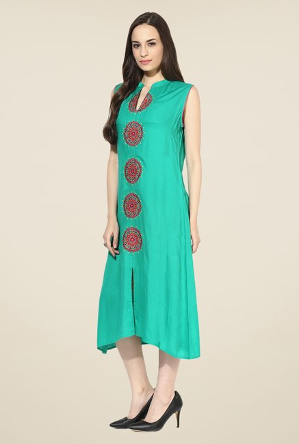 Shree Turquoise Rayon Embroidered Kurta