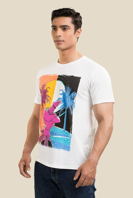 Johnny Bravo Day & Night White Graphic T-shirt