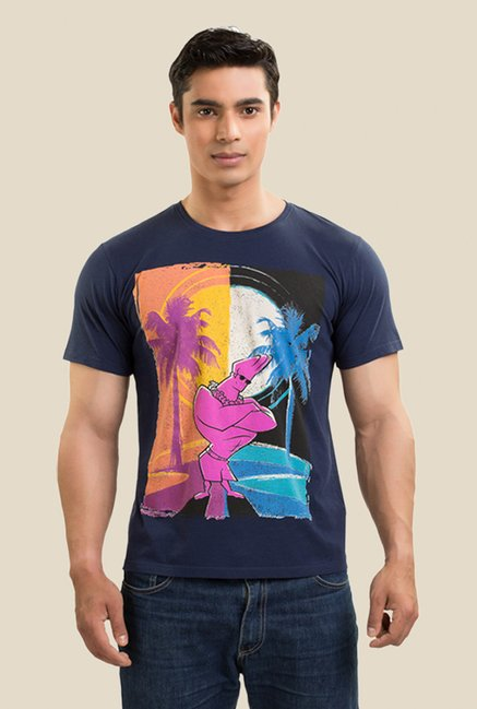 Johnny Bravo Day & Night Navy Graphic T-shirt