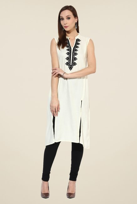 Shree White Rayon Embroidered Kurta