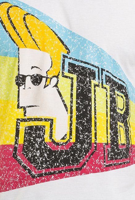 Johnny Bravo White Graphic T-shirt