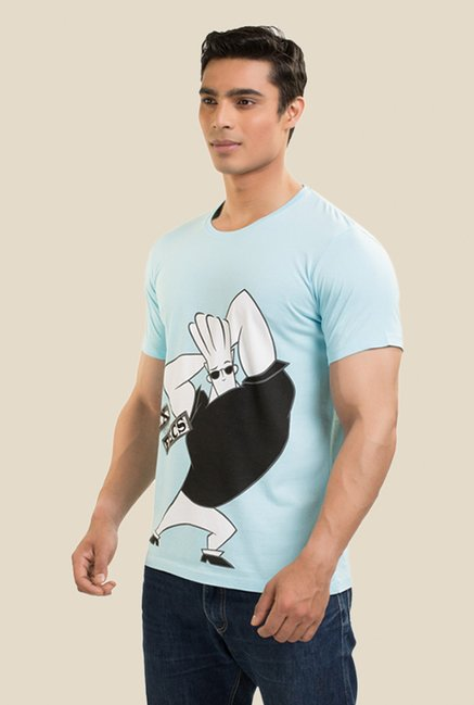 Johnny Bravo Flex The Pec Light Blue Graphic T-shirt
