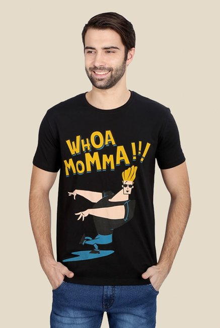 Johnny Bravo Whoa Momma Black Graphic T-shirt