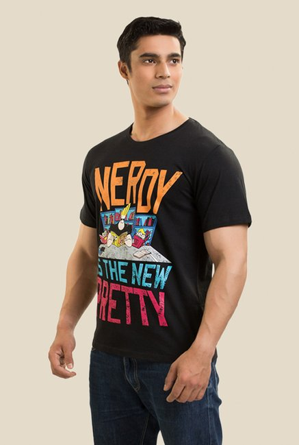 Johnny Bravo The Nerd Black Graphic T-shirt