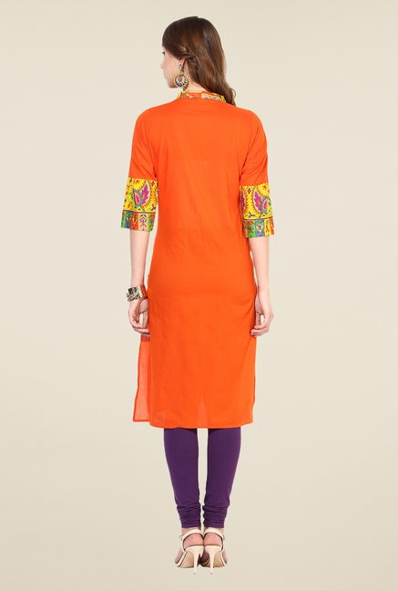 Shree Orange Cotton Solid Kurta