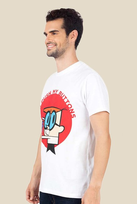 Dexter You Push My Buttons White Graphic T-shirt