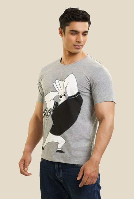 Johnny Bravo Flex The Pec Grey Graphic T-shirt