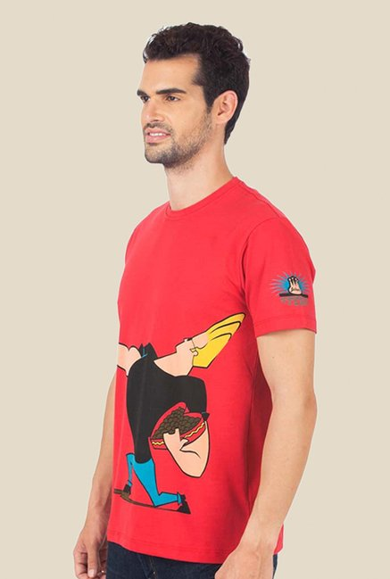 Johnny Bravo The Love Machine Coral Graphic T-shirt