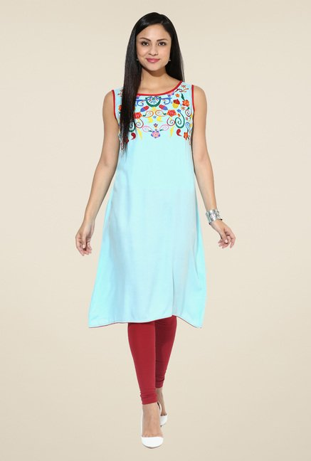 Shree Sky Blue Rayon Embroidered Kurta