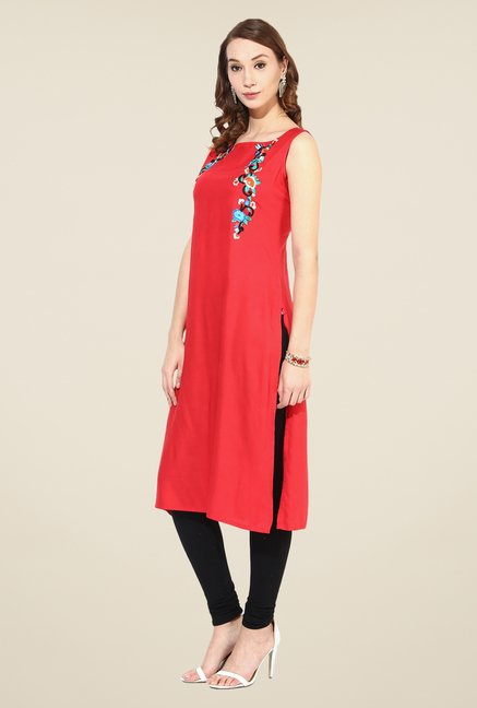 Shree Coral Rayon Embroidered Kurta