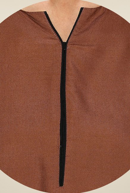 Shree Brown Rayon Solid Kurta