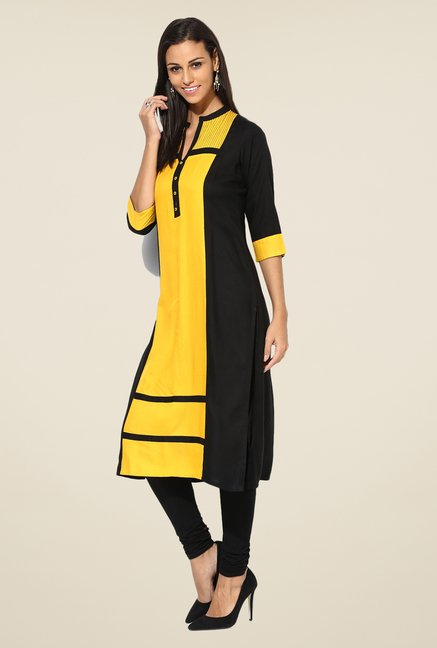 Shree Yellow Rayon Solid Kurta