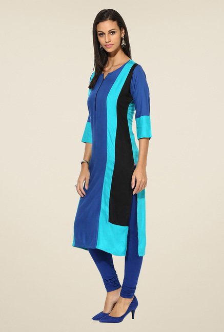 Shree Blue Rayon Solid Kurta