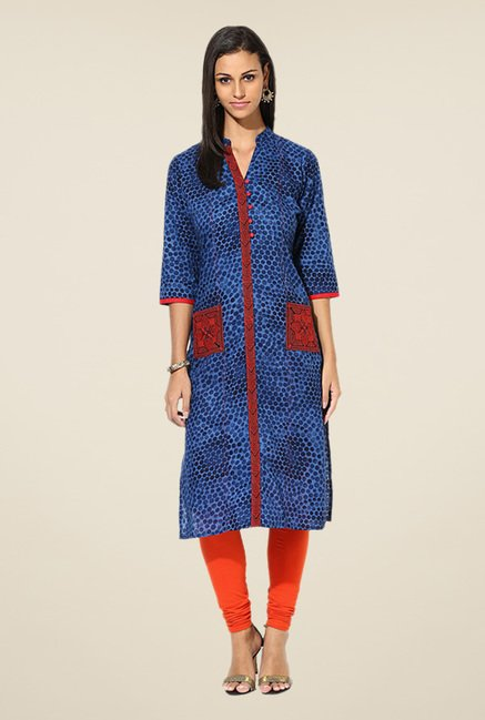 Shree Indigo Cotton Printed Kurta