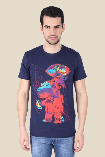 Family Guy Stewie & Brian Technicolored Navy Graphic T-shirt