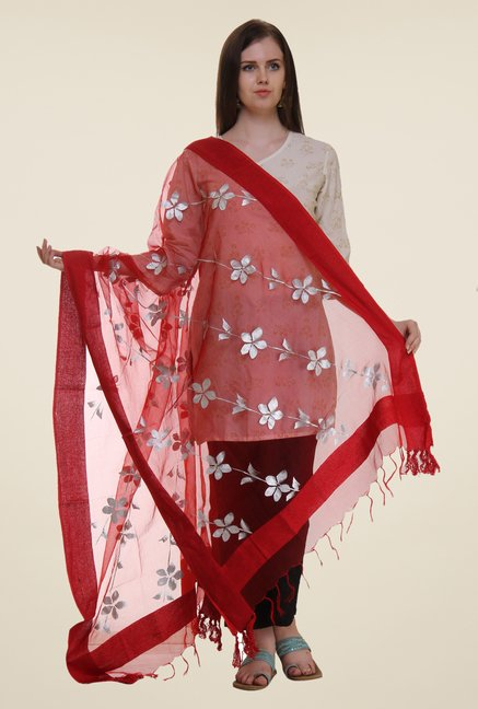 Shree Red Polyester Dupatta
