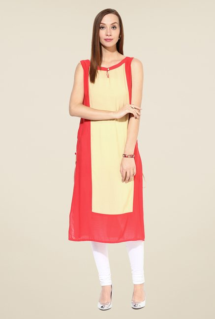 Shree Red & Beige Rayon Solid Kurta