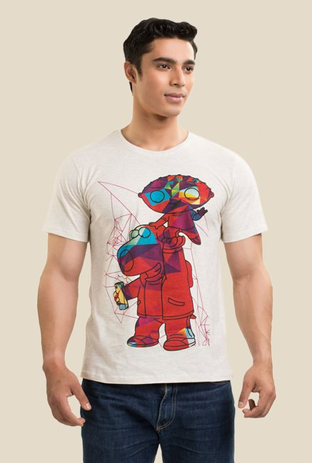 Family Guy Stewie & Brian Cream Graphic T-shirt